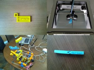 MAKING session, clockwise from top-left: 1. My name sign accessory ; 2. Ultimaker2 printing a name sign; 3. Clip for sealing opened food packaging; 4. 3D printer (in-progress) created using Ultimaker2.
